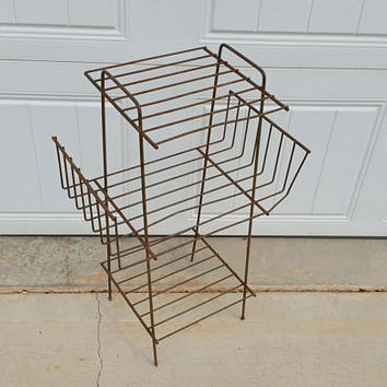 Vintage Wire Mid Century Record Table Plant Stand Shelf