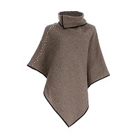 Camel Marbled Collared Poncho with Pearl Accents