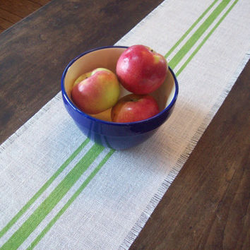 Grain Sack Style Burlap Table Runner with Spring Green Stripes 10 x 48 / Spring Home Decor