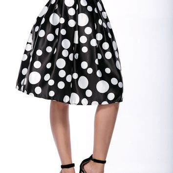 Streetstyle  Casual Elastic Waist Inverted Pleat Polka Dot Flared Midi Skirt