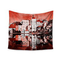 "Suzanne Carter ""Red Sky At Night"" Red White Wall Tapestry"