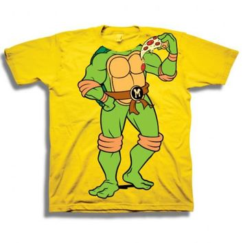 Teenage Mutant Ninja Turtles TMNT Michelangelo Headless Pizza Toddler Yellow T-Shirt - Teenage Mutant Ninja Turtles - | TV Store Online
