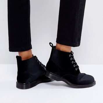 Truffle Collection Lace Up Velvet Ankle Boots at asos.com