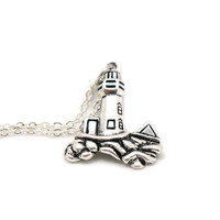 Lighthouse Necklace, Lighthouse Pendant, Charm Jewelry, Silver Lighthouse Necklace, Lighthouse Charm, Beach Charm, Nautical Necklace