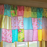 Patchwork Valance Boho Window Treatment Bohemian Kids Curtain Hippie Cottage Chic Decor Shabby Chic Colorful Curtain Ready to Ship