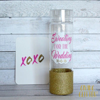 Sweating For The Wedding // Glitter Dipped Water Bottle