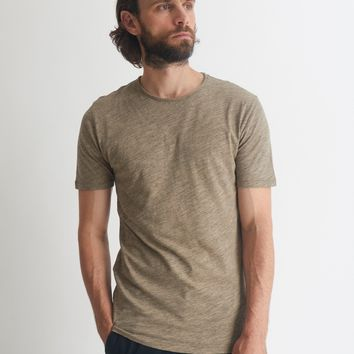 The Idle Man Rolled Neck Slub T-Shirt Stone