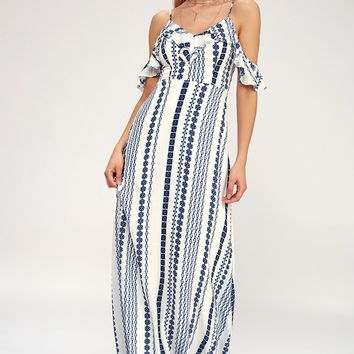 Brescia Blue and White Print Off-the-Shoulder Maxi Dress
