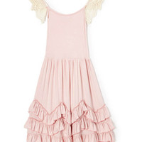 Dusty Rose Crochet Cap Sleeve Ruffle Gown