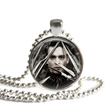 Johnny Depp as Edward Scissorhands Title Image 1 Inch Silver Plated Pendant Necklace Handmade