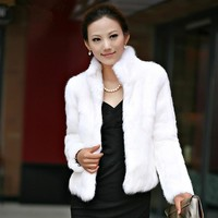Winter Womens Luxury Rabbit Fur Coat Thick Warm Faux Fur Jacket Long Sleeve Ladies Fluffy Coat White Black Female Outerwear