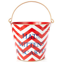 Hats, Mittens & Scarves Pail, Red Zigzag, Pails & Buckets