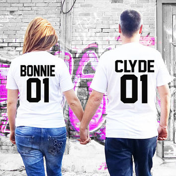 Bonnie Clyde shirts, Couples shirts, Couple shirts, Custom number bonnie clyde couple shirts, matching shirts for couples