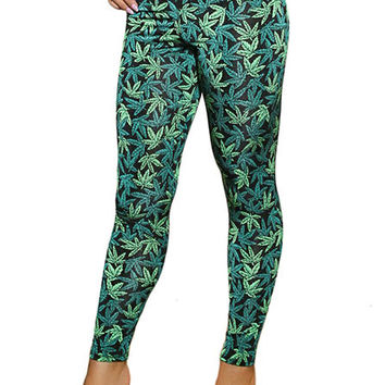 Sexy Leaf Print Tights Marijuana Clothing