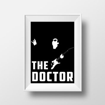 Doctor Who Poster, Movie Poster, Black and White, Invert, Guitar, The Doctor