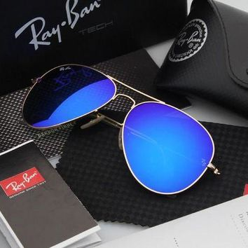 PEAP2Q ray ban aviator sunglasses blue flash gold frame rb3025 112 68f 58mm