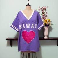 Kawaii Hologram Heart Jersey Style T-Shirt Pastel Goth Sporty Oversized Look Size XS S M L XL 2X