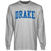 Drake Bulldogs Basic Arch Long Sleeve T-Shirt - Ash