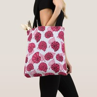 Pink Snails And Leaves Nature Lover Pattern Tote Bag