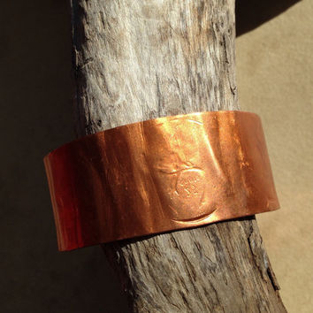 Rustic copper cuff bracelet, hammered textured flamed handforged wide band, coin patterned rustic warm orange patina, handmade copper