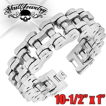 """10-1/2"""" x 1"""" Stainless Steel Motorcycle Chain Bracelet - Big, Bold & Heavy (818)"""