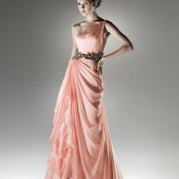 A-line one-shoulder strap sweetheart beaded tulle pink Prom Dresses - Basadress.com