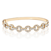 Yellow Gold Plated Brass Bracelet with White Crystal rings