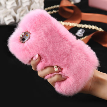 Genuine Rabbit Fur Cases For iPhone 7 6 6s Plus For Samsung S5 S6 S7 Edge A5 A7 J5 J7 Fluffy Diamond Bling Back Cover Women