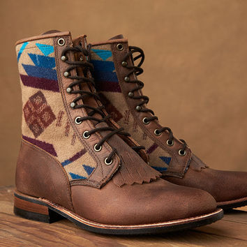 Paul Brodie Women's Lace Up Boulet Boots - Pendleton® Wool Coyote Butte Tan