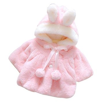 Infant Girls Winter Cute Cloak Coat Korean Style Bow Baby Kids Thick Warm Clothes Newborn Fur Ball Hat Hooded Jacket 0125