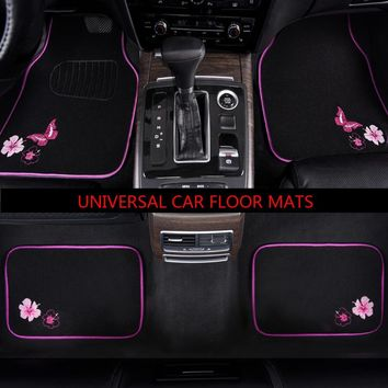 Car-pass 4 Pieces  Car Mats Towel Cloth Butterfly  Mats For Cars Fit For mazda cx-5 skoda superb 2 peugeot 308 peugeot 206 volvo