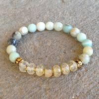 Positivity and Joy, Amazonite and yellow quartz bracelet