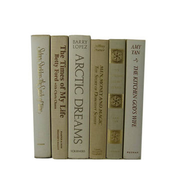Beige Ivory Decorative Books,  Wedding Decor, Neutral Vintage Books, Home Decor, Old Books, Book Stack, Photo Prop, Book Prop, White Decor