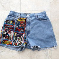 Captain America High Waisted Shorts 30 inches