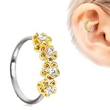 316L Stainless Steel Golden Flowers Seamless Circular Ring / Daith Cartilage Earring