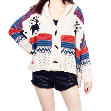 2016 Women Causal Coats Winter Oversized Sweaters With Deer Pull Femme Long Cardigans knitted Christmas Sweater Burderry S206