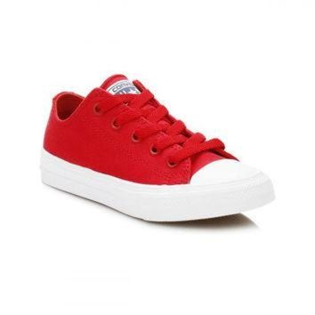 IKCKL9 Converse All Star Chuck Taylor II Junior Salsa Red/White Ox Trainers