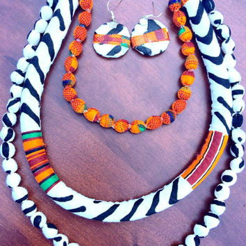 Three layer Kente mudcloth Ankara wax print African fabric beaded kitenge statement bib tribal rope necklace with circle earring set