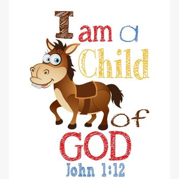 Bullseye Toy Story Christian Nursery Decor Print, I am a Child of God, John 1:12