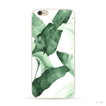 Flowers Painted Transparent Shell Phone Cover Case For Apple iPhone 6 6s