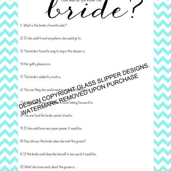 Bridal shower/bachelorette game printable - How well do you know the bride quiz pool blue chevron - automatic download