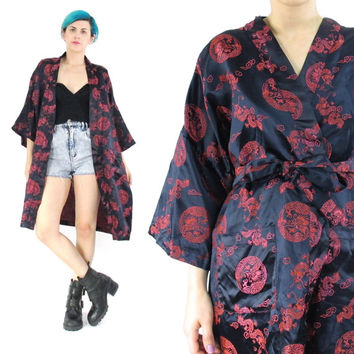 Vintage Chinese Silk Robe Asian Silk Kimono Dragons Embroidered Kimono Navy Red Slouchy Belted Robe Wide Short Sleeve Jacket (M/L/XL)