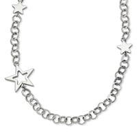 Stainless Steel Polished Stars 30in Necklace SRN633