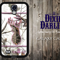 Country Inspired Samsung Galaxy s5 / Samsung Galaxy s4 / Samsung Galaxy s3 / Camo Phone Case - Snow Camo & Bubble Gum Buck and Bow (CP0102)