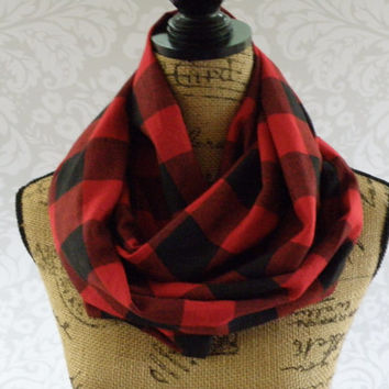 Ready To Ship Limited Edition Buffalo Plaid Red Black Scarf FLANNEL Winter Fall Accessories