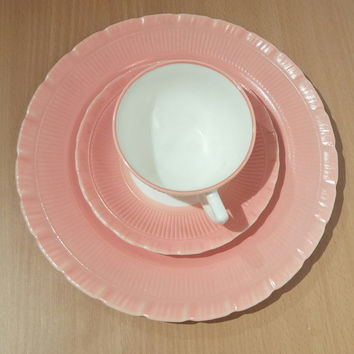Vintage MacBeth Evans Oxford Pattern Pastel Pink Plates. Set of 2 comes with Plate, Saucer and Cup. Extremely Rare! Corning Monax Plate