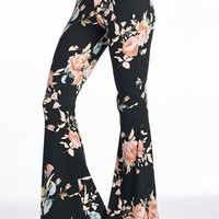 Black and Peach Floral Flare Pants