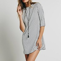Free People Womens Striped Knit Boatneck Dress