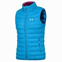 An Dema tide brand men and women couple stylish vest Lake Blue (Women)