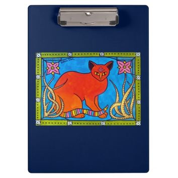 Indian Cat With Lilies Colorful Cat Design Clipboard